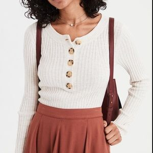 AMERICAN EAGLE Ribbed Henley Sweater